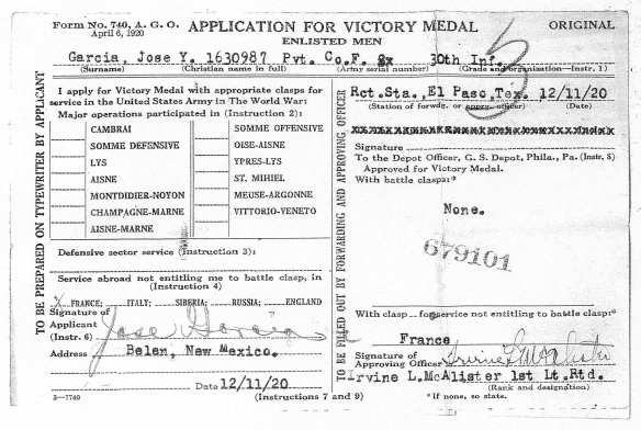 Jose Garcia y Baca Victory Medal Application Form
