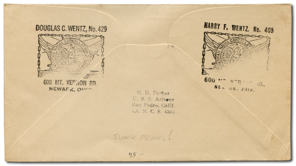 USS Arizona Postal Cover Reverse