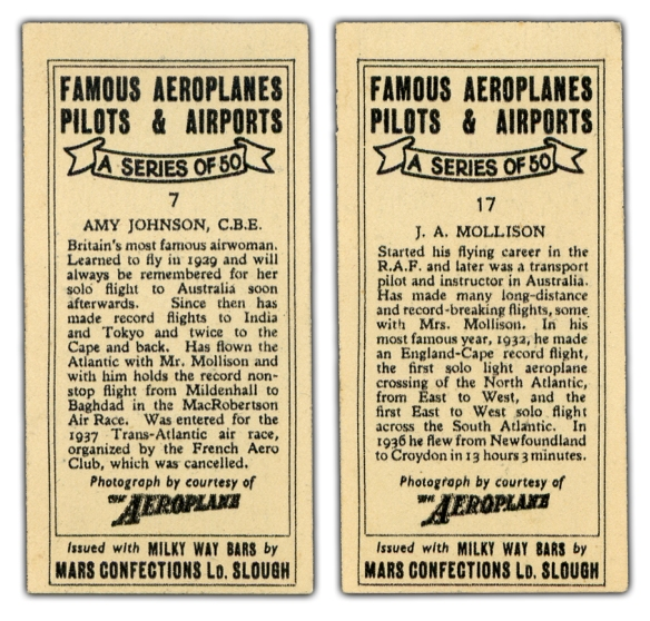 J A Mollison Amy Johnson Cards Back