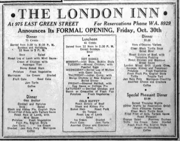 London Inn Menue Pasadena Post 31 October 1936